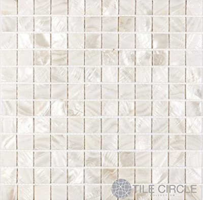 "Mother of Pearl Shell Tile White 1"" X 1"" Squares (On a 12"" X 12"" Mesh) for Backsplash and Bathroom Walls and Floors"