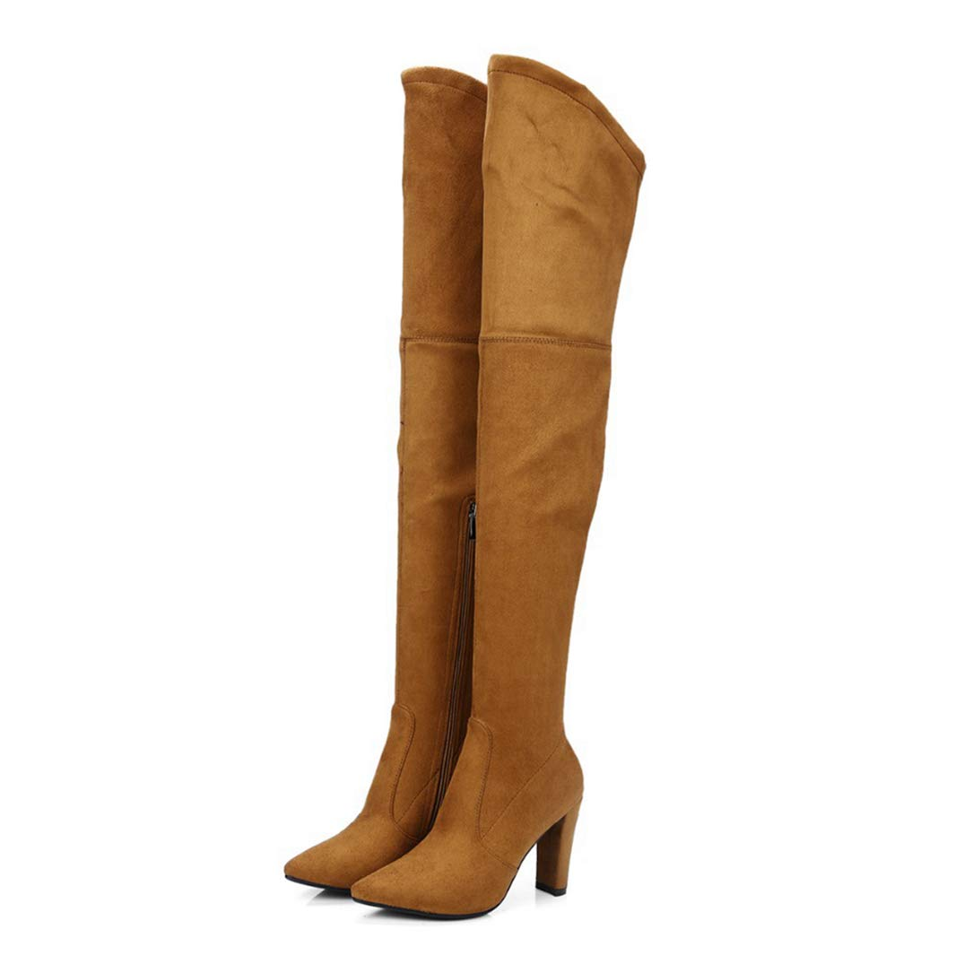 Brown Thigh High Boots for Women Faux Suede Winter Stretch Over The Knee Boots Zip High Heel Pointed Toe shoes