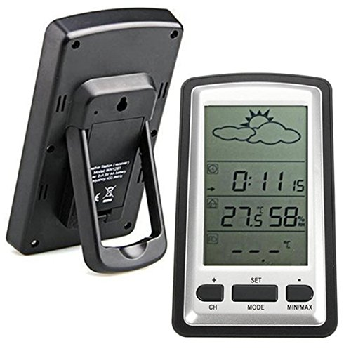 Wireless Thermometer,ELEGIANT Wireless Weather Station Radio Controlled Clock Indoor Temperature Humidity Storm Warning and Outdoor Temperature