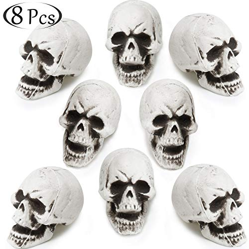 Styrofoam Head Halloween Decorations (8 Pieces Halloween Skulls Realistic Looking Skulls Human Skeleton Head Skull for Halloween Bar Home Table Decoration (Large, Style)