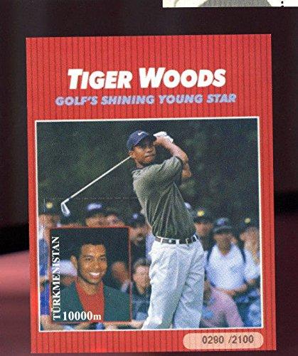 Turkmenistan Golfs Shining Young Star Tiger Woods Golf Uncut Postage Stamp Sheet