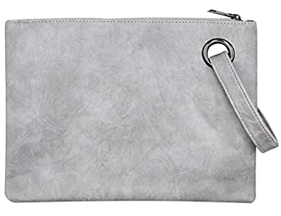 Women Oversized Envelope Handbag Soft Leather Clutch Evening Bag Purse with Wrist Strap Grey Size: One Size
