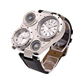 Mens Large Face Dual Time Unique Quartz Movement Analog Wrist Casual Watch with Stainless Steel Case, Comfortable PU Leather Band, for Military/Army/Sports Use - Silver