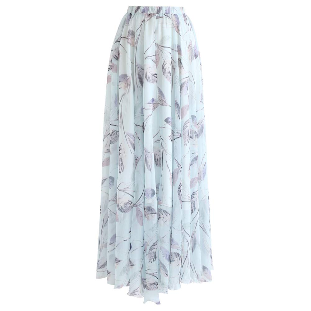 Chicwish Women's Minty Sweet Leaves Floral Watercolor Chiffon Maxi Slip Skirt by Chicwish