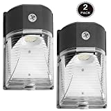 Dott Arts 2-Pack LED Wall Pack 26W, Dusk to Dawn LED Wall Pack Fixture, Photocell Included, Security Lighting,3000lm 120-277V 5000K Daylight DLC ETL/cETL-listed 150-250W MH/HPS replacement