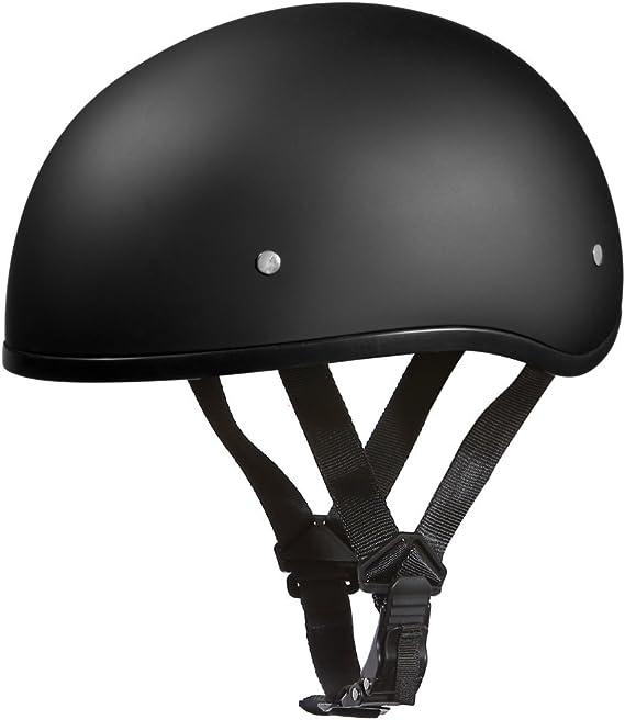 Daytona Helmets Motorcycle Half Helmet Skull Cap- Dull Black W/O Visor 100% DOT Approved