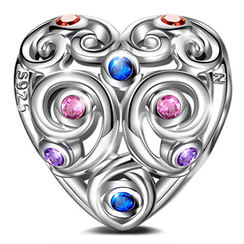Ninaqueen 925 Sterling Silver Heart-shaped Hollow Charm ()
