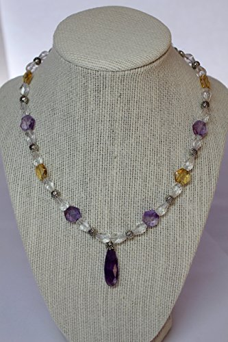 Faceted Ametrine and Clear Quartz Necklace with Matching Bracelet and Earrings