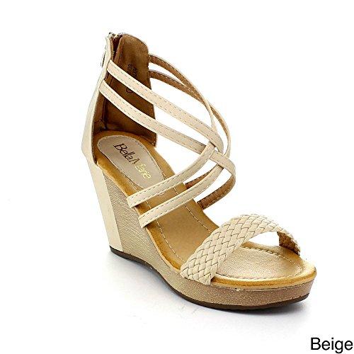 Bellamarie Nxt-13 Kvinner Krysser Ankel Strappy Glidelås Flette Kile Plattform Sandal, Farge: Beige, Størrelse: 8.5