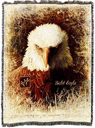 Pure Country Weavers | Bald Eagle Woven Tapestry Throw Blanket Cotton with Fringe Cotton USA ()