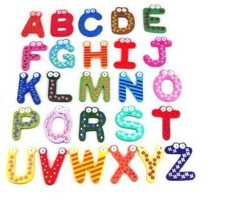 SODIAL Funky Fun Colorful Magnetic Letters A-Z Wooden Fridge Magnets Kid toys Education