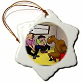 3dRose Londons Times Offbeat Cartoons - Medical - Camel At Chiropractor - 3 inch Snowflake Porcelain Ornament (orn_44979_1)