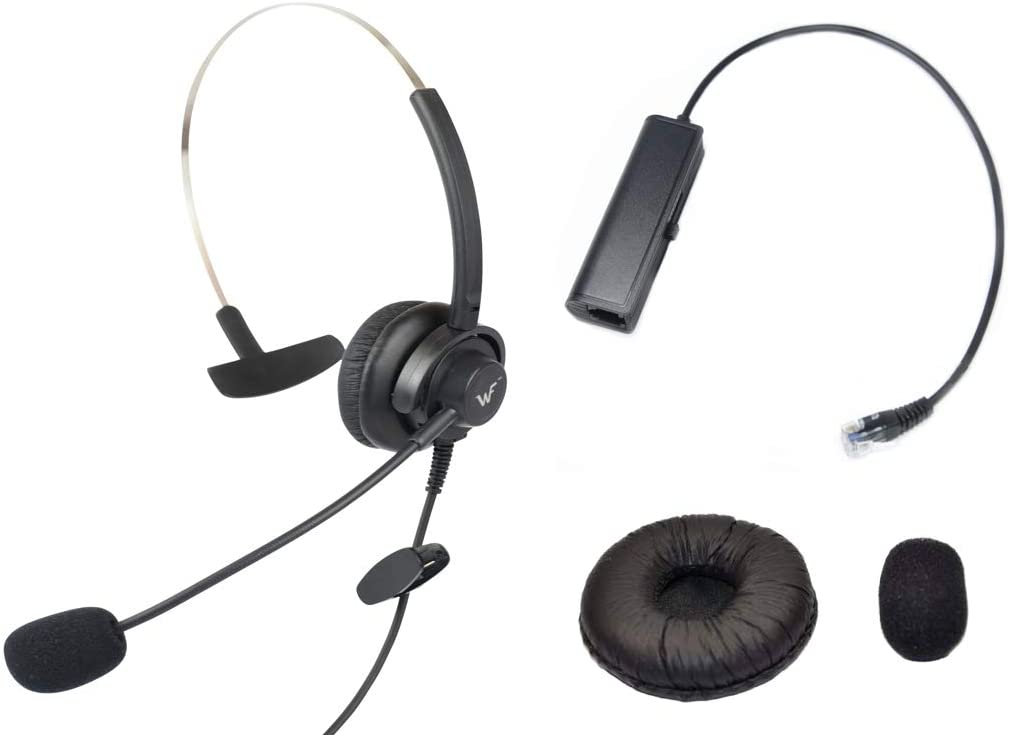Call Center Hands-Free RJ9 Headset Headphone Monaural Mic Mircrophone Noice Cancelling + Extra Cushions for Avaya Nortel Nt Yealink Ge Emerson Viop POE NEC Mitel Office Desktop IP Telephone Phone