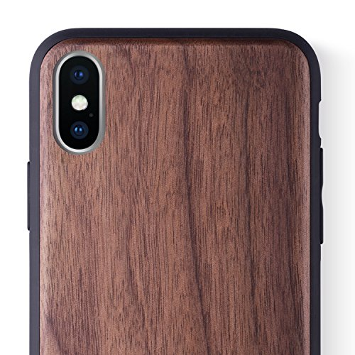 iCASEIT iPhone Xs/X Wood Case Full Protection TPU Bumper Cover with Premium Finish [Compatible with Wireless Charger] Slim & Lightweight Snap-on Protection for iPhone Xs/X - Walnut ()