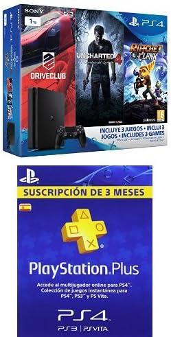 PlayStation 4 Slim (PS4) 1TB - Consola + Uncharted 4 + DriveClub + Ratchet & Clank [Pack Exclusivo] + PSN Plus Tarjeta 90 Días: Amazon.es: Videojuegos