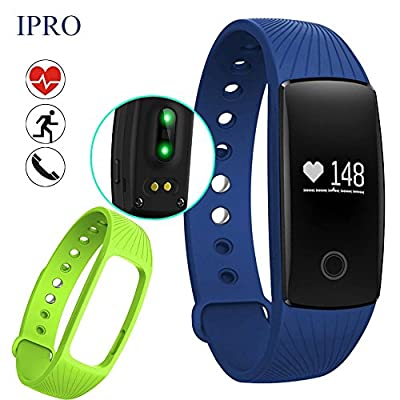Pedometer Bracelet with Heart Rate Monitor,IPRO ID107 Waterproof Activity Exercise Fitness Tracker Health Sleep Monitor Smart Wristband Watch+Band Replacement for IOS iphone&Android