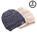 Beautifully Warm Women Beanie Hat | Satin Lined Hat for Ladies with Natural Hair | Slouchy Winter Hat for Women | Knitted Winter Hat Oversized Feels Comfortable | Pack of 2 | Charcoal/Beige