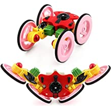 Inverlee New Rechargeable 2.4G Remote Control Mini 360°Spinning Stunt Car And Flips with Flashing Color Truck (Red)