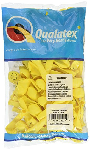Qualatex 39270 Smile Face - Yellow Latex Balloons, 5