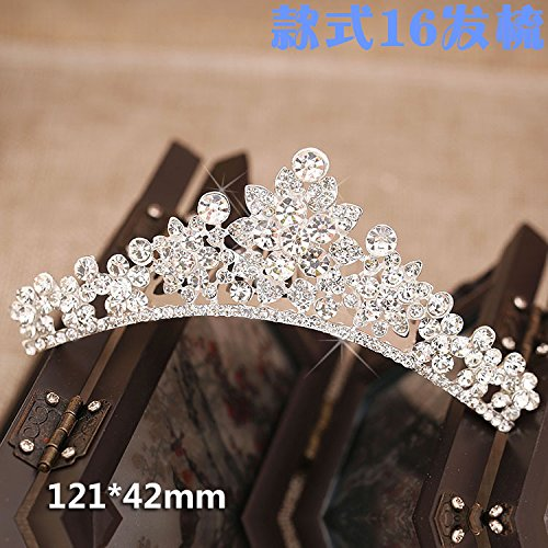 Quantity 1x new_ Korean jewelry _insert_drill_5_ Rhinestone ing Crown Tiara Party Wedding Headband Women Bridal Princess Birthday Girl Gift pearl _gold-colored_ Hair clip hairpin barrette Hair ()
