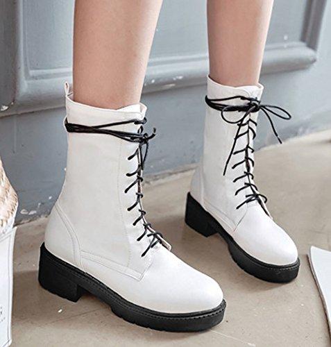 Zapatos De Tacón Alto Con Cordones Ocasionales De Los Hombres De La Bota De Punta Redonda Con Cordones Ocasionales De Las Mujeres De Aisun