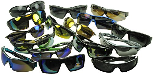 Lot-of-12-25-and-50-Assorted-High-Performance-Sports-Wrap-Sunglasses-w-Amber-Black-and-Mirrored-Lenses