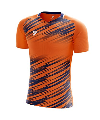 Yang Yang USA Men Badminton Shirt Short Sleeve Quick Dry Polyester T Shirt Apparel (Neon Orange, Extra Large)