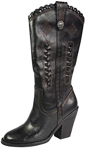 Heel High Boots Western (Very Volatile Women's Rosewell Western Boot,Black,7 B US)