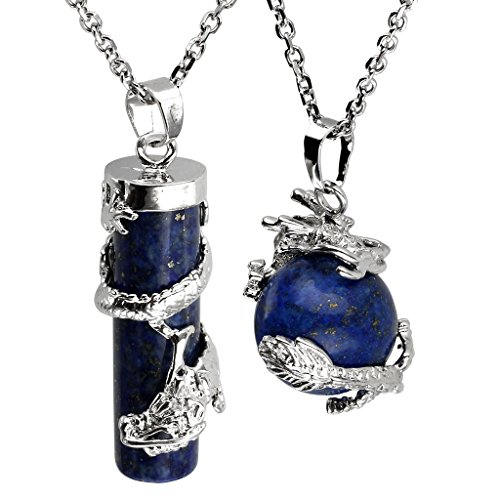 JOVIVI 2pc Dragon Wrapped Dyed Lapis Lazuli Round Ball Cylinder Gemstone Healing Crystal Pendant Necklace Set