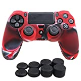 YoRHa Silicone Cover Skin Case for Sony PS4/slim/Pro controller x 1(camouflage red) With Pro thumb grips x 8 For Sale