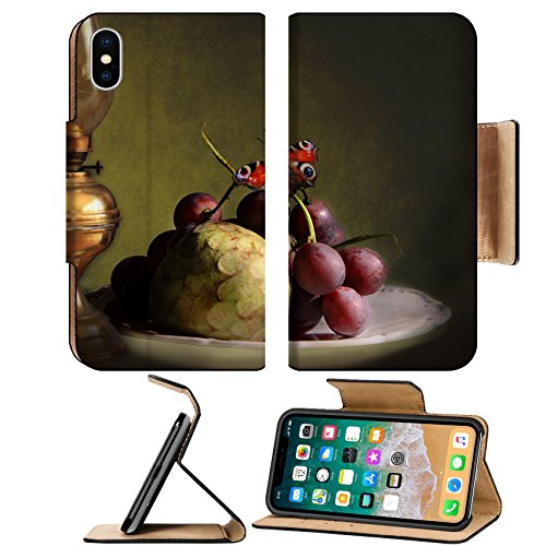 MSD Premium Apple iPhone X Flip Pu Leather Wallet Case Chiaroscuro art still life oil lamp exotic fruits plate and a colorful butterfly IMAGE 32705668 - Stilo 1 Light