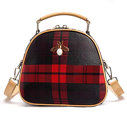 - Mn&Sue Tartan Small Cross Body Bags Mini Bee Top Handle Satchel Round Compartment Purses for Women (Round - Red)