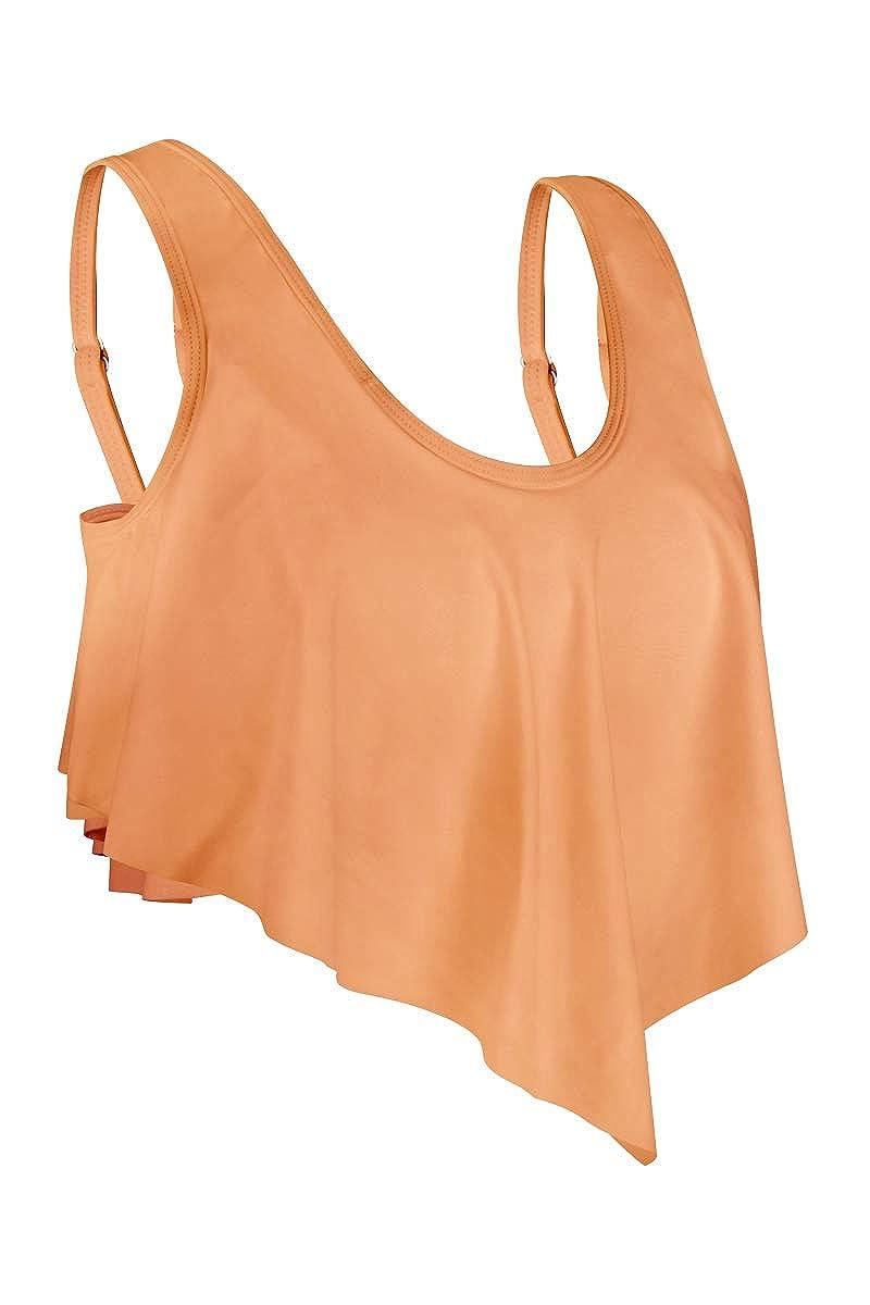fitglam Womens Ruffled Bikini Tankini Swimsuit Top High Waisted Tummy Control Swim Shorts Brief