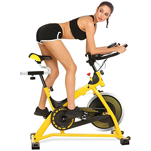 Spinning Bike Spin Pro Indoor Cycling Bike with Pulse Health and Fitness Equipment Machine for Home Gym Exercise Yellow