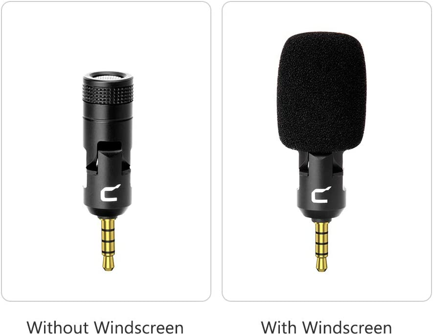 Leepesx CVM-VS07 Mini Flexible Plug-in Omnidirectional Microphone Mic 3.5mm TRRS Plug 90/° Adjustable for GoPro Action Camera DSLR Camera Smartphone Stabilizer