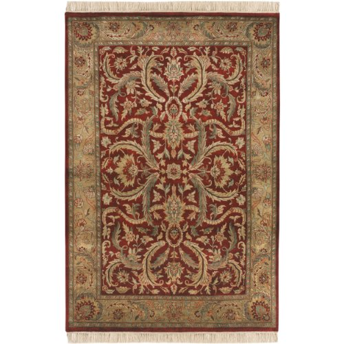 Surya Taj Mahal TJ-59 Traditional Hand Knotted 100% Semi-Worsted New Zealand Wool Burgundy 8'6