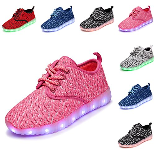 DEDU Kids Breathable 26 Colors LED Sneakers Sport Shoes USB Rechargable Child Lace up Flashing Shoes (Shoes Kids Pink)