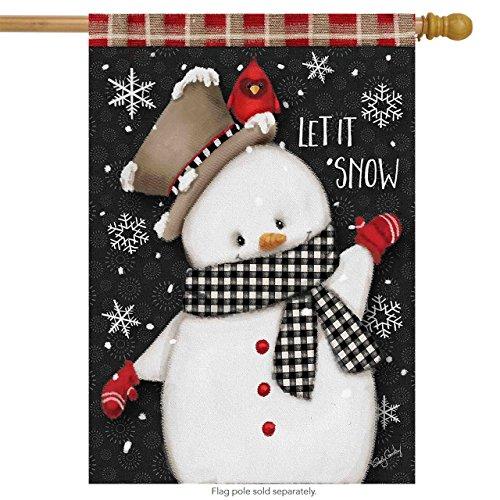 - Briarwood Lane Celebrate Winter Snowman Primitive House Flag Cardinal Snowflakes 28