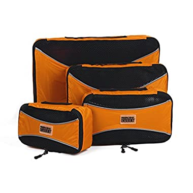 PRO Packing Cubes | 4 Piece Travel Packing Cube Value Set | 30% Space Saver Bags | Ultra Lightweight Luggage Organizers | Great for Duffel Bags, Carry on Luggage, and Backpacks (Orange)