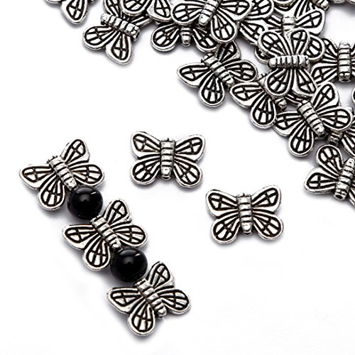 BRCbeads Top Quality 10x13mm Butterfly Style #1 Tibetan Silver Metal Spacer Beads 50pcs per Bag For Jewelry Making Findings