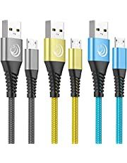 Micro USB Cable Aioneus [6ft 3Pack] Android Charger Fast Charging Cable Nylon Braided Micro B Charger Compatible with Samsung Galaxy S6 Edge S7 S5 J7 J5 J3, LG, Sony, PS4, Xbox (Blue, Grey, Gold)