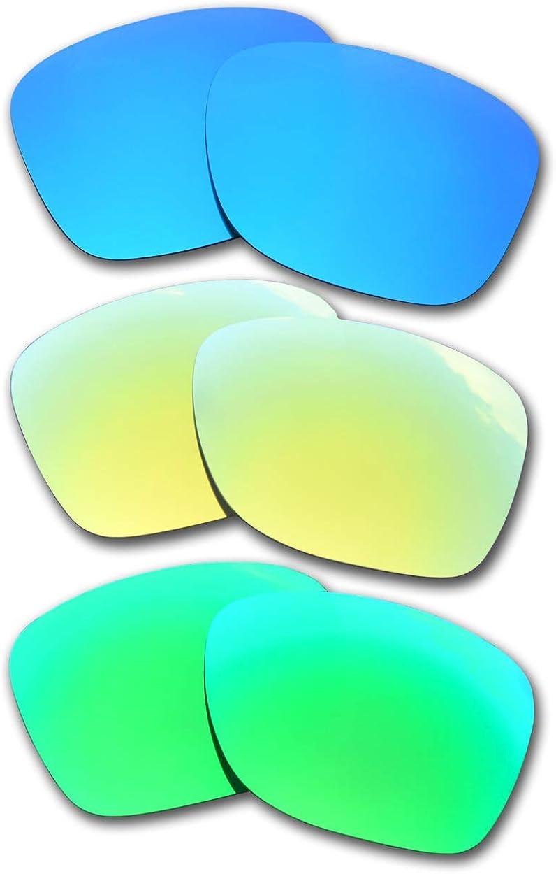 SOODASE Pour Oakley Catalyst Des lunettes de soleil 3 Paires Verres de remplacement polarisés Bleu/Doré/Vert