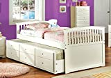 1PerfectChoice Mission Bella Youth Kids Full Captain Platform Bed w/ Twin Trundle Drawers White