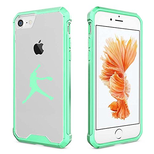 for Apple iPhone Clear Shockproof Bumper Case Hard Cover Female Softball Pitcher (Mint for iPhone 8)