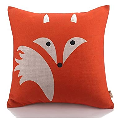 HT&PJ Decorative Cotton Linen Square Throw Pillow Case Cushion Cover Orange Abstract Fox Design 18 x 18 Inches
