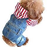 SILD Pet Clothes Dog Jeans Jacket Cool Blue Denim Coat Small Medium Dogs Lapel Vests Classic Hoodies Puppy Blue Vintage Washed Clothes (S)