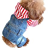 SILD Pet Denim Jumpsuit Dog Jeans Hoodies Cool Blue Coat Medium Small Dogs Classic Jacket Puppy Blue Vintage Washed Vests (M) Review