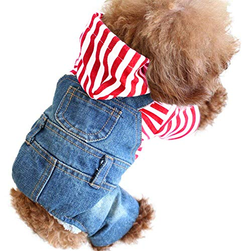 SILD Pet Denim Jumpsuit Dog Jeans Hoodies Cool Blue Coat Medium Small Dogs Classic Jacket Puppy Blue Vintage Washed…