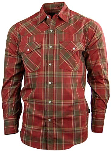 Canyon Guide Men's Long Sleeve Plaid Western Shirt | Easy Open Snap Front (Large, Red (610))