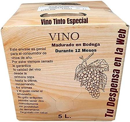 Vino Tinto Especial - Bag in Box de 5 Litros - Elaborado con un 90% tempranillo y 10% de garnachas tintas - Madurado en Bodega Durante 12 Meses